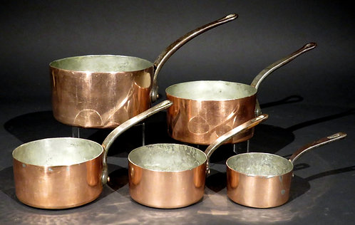 A Very Good Set of Five Graduated Copper Pots, France Circa 1900