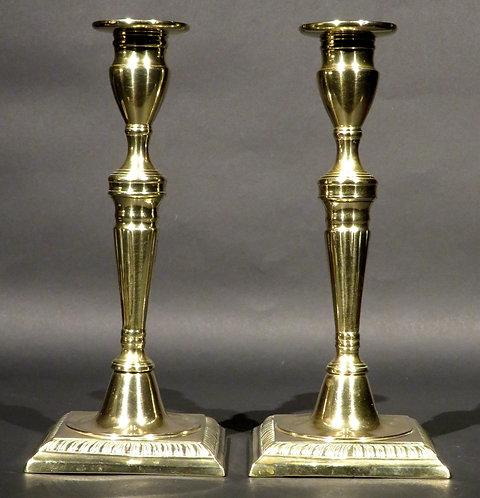 A Pair of 18th Century Brass Candlesticks, English Circa 1770