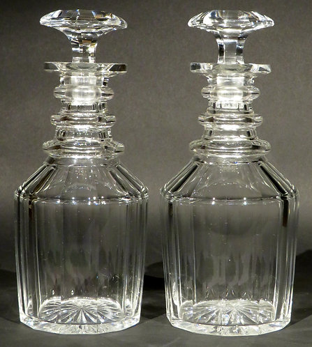 A Very Good Pair of Georgian Anglo-Irish Glass Spirit Decanters, Circa 1820