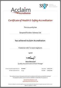 Certificate of Acclaim Health & Safety Accreditation