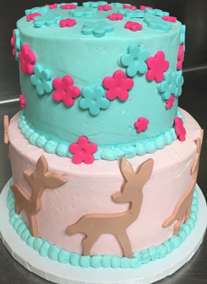 Teal and Pink Flower Cake