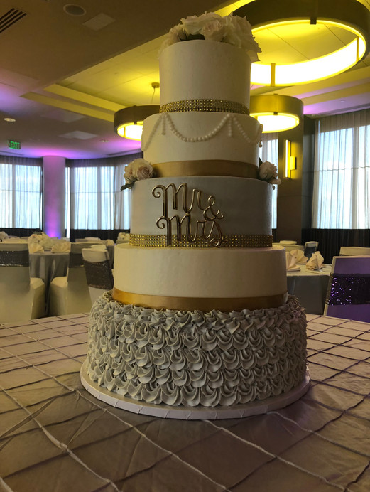 Gold and Silver Tiered Cake