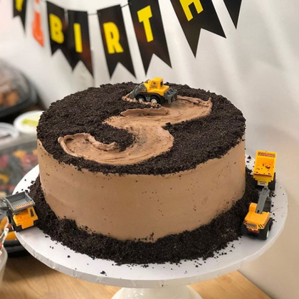 Tractor and Dirt Birthday Cake