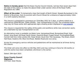 North Street road closure 22nd/23rd May