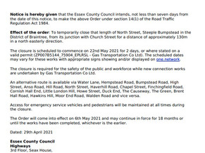 North Street road closure 22nd/23rd May