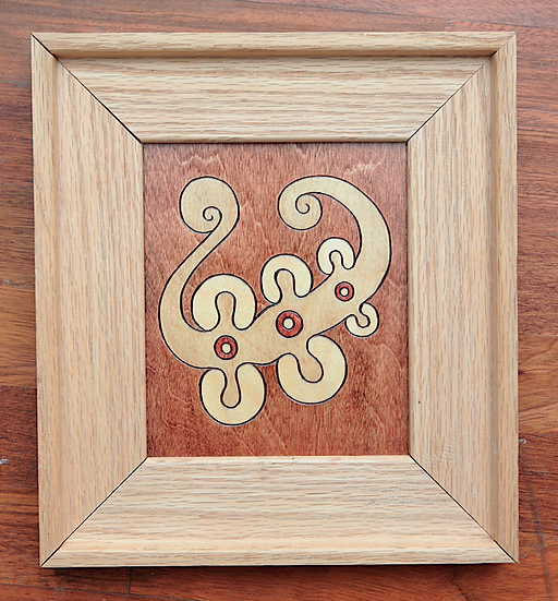 organic handmade framed varnish art woodburning