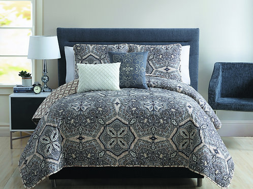 BELINDA 5PC QUILT SET-GRAY