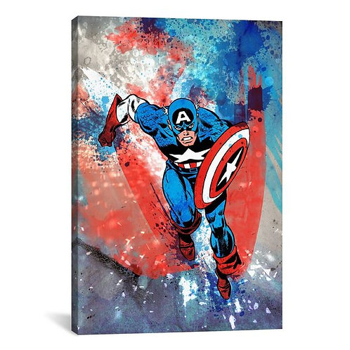 Marvel Comics Captain America Running Painted Grunge by Marvel Comics Canvas