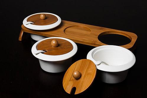 Porcelain Condiment Bowls Set w/Bamboo Rack
