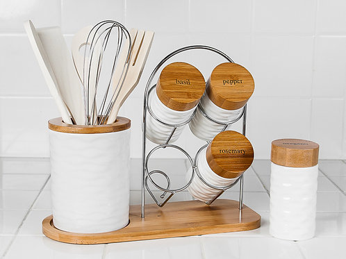 Porcelain Utensil Holder Set w/ Jars & Utensils