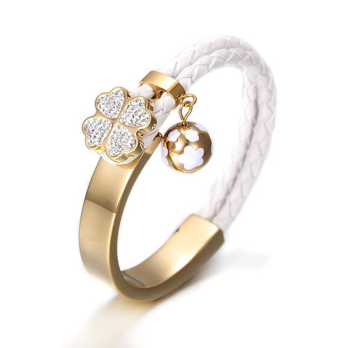 Studded Daisy Bangle w/Leather Braid - White/Gold