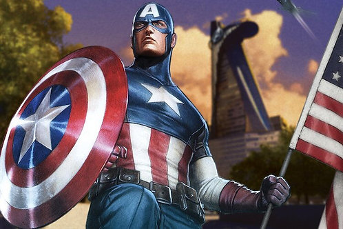 Captain America with a Flag by Marvel Comics Canvas Print
