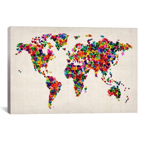 World Map Hearts (Multicolor) II