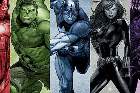 Comics (Avengers) - Rainbow Avengers Panoramic  by Marvel Comics Canvas Print