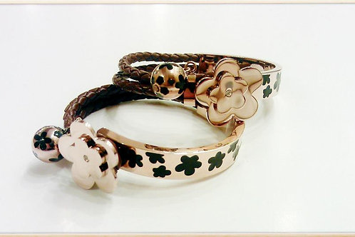 Stainless Daisy Bangle w/ Leather Braid - Blk/Gold