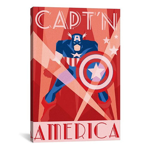 Capt'n America Minimalistic Poster by Marvel Comics Canvas Print
