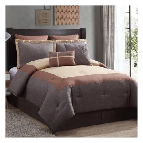 Amadora 8-Piece Comforter Set - Spice Brown