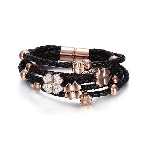 Leather Braided Studded Bracelet - Black