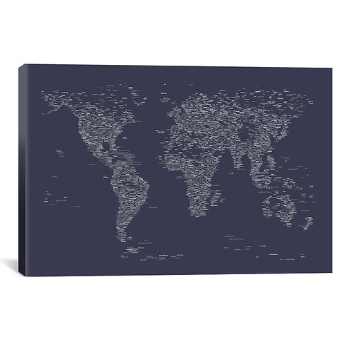 Font World Map (Navy Blue)