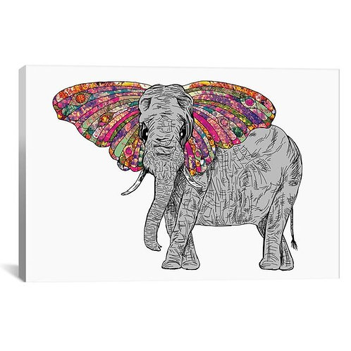 Bella The Happy Butterphant by Bianca Green Canvas