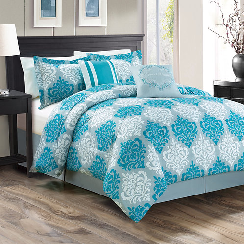 Mindy 6-piece Comforter Set, Teal