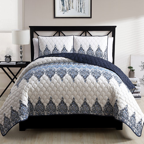 ANDROS MICROFIBER 3PC QUILT SET-BLUE/IVORY