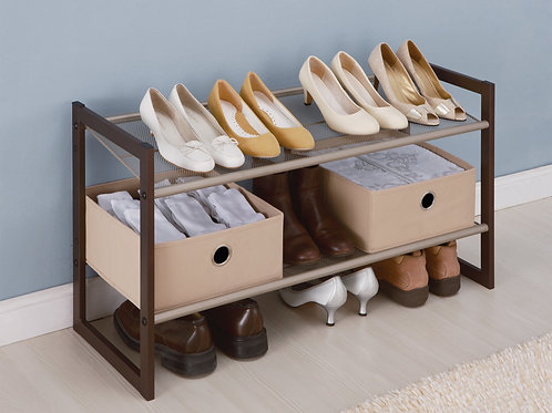 2 Tier Adjustable Angle Shoe Rack