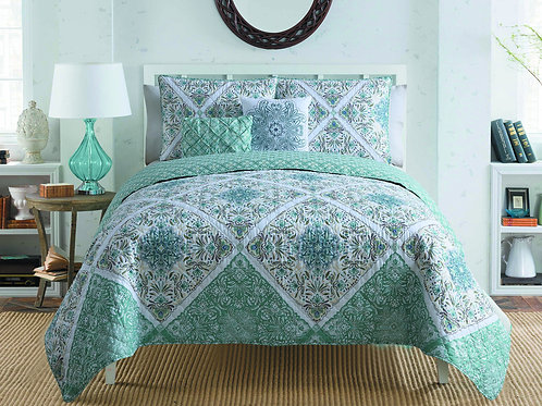 WINDSOR 5PC QUILT-AQUA