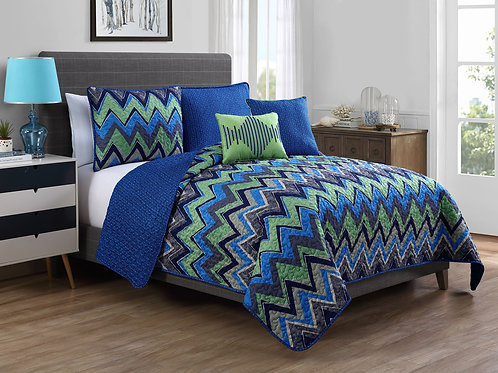 AXIS 5PC REVERSABLE-QUILT SET- BLUE