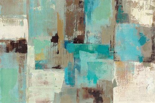 Teal and Aqua Reflections #2 by Silvia Vassileva Canvas Print