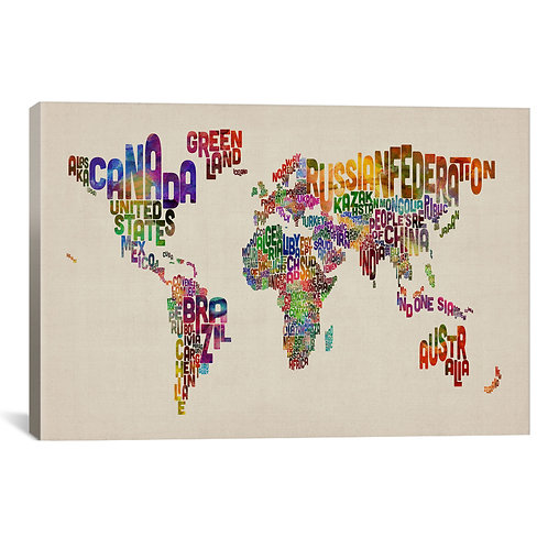 Typographic Text World Map VIII