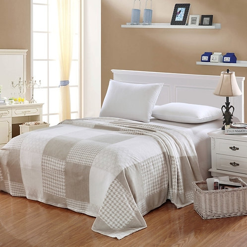 Camessa Beige -White Squares Blanket