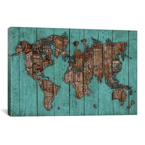 Wood Map #2 by Diego Tirigall Canvas Print