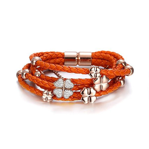 Leather Braided Studded Bracelet - Orange