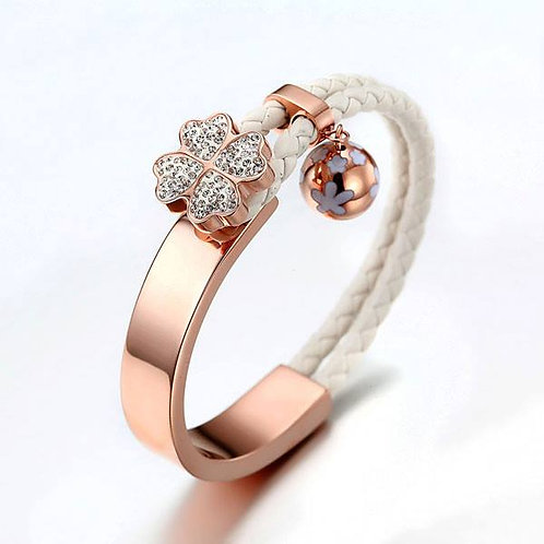 Studded Daisy Bangle w/Leather Braid - White/Rose