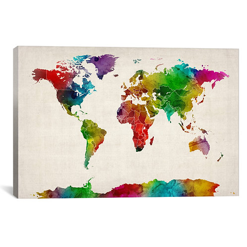 Watercolor Map of the World III