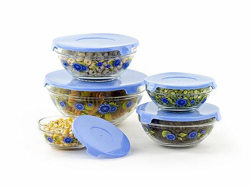 (10) PCS Glass Lunch Bowls Set w/ Blue Lids