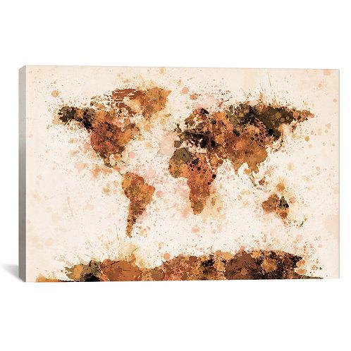 Bronze Paint Splash World Map