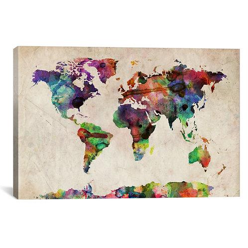 World Map Urba Watercolor II by Michael Tompsett