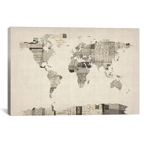 Vintage Postcard World Map