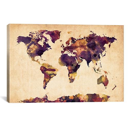 Urban Watercolor World Map VI