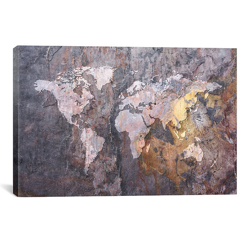 World Map on Stone Background
