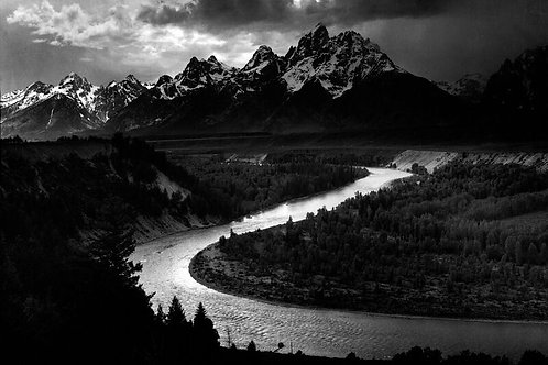 The Tetons - Snake River by Ansel Adams Canvas Print