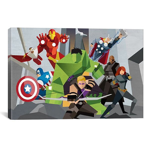 Avengers Assmeble Geometric: Avengers by Marvel Comics Canvas Print