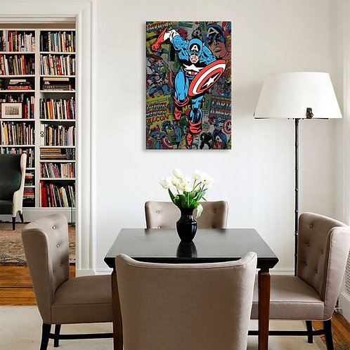 Marvel Comic Book Captain America Covers Collage by Marvel Comics Canvas Print