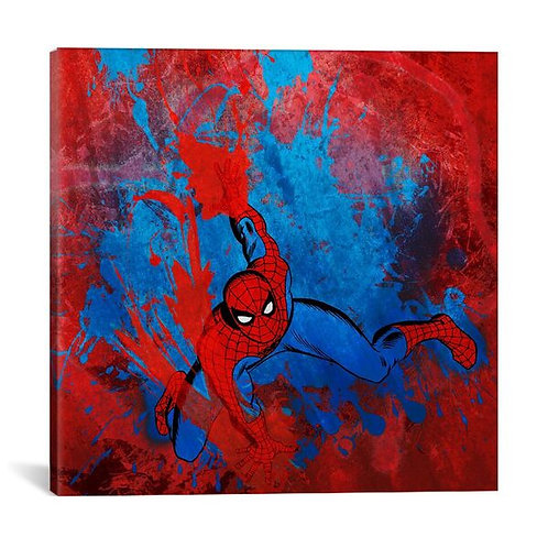 Marvel Comics Spiderman Swinging Painted Grunge by Marvel Comics Canvas Print