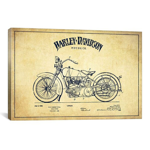 Harley-Davidson Vintage Patent Blueprint by Aged Pixel Canvas Print