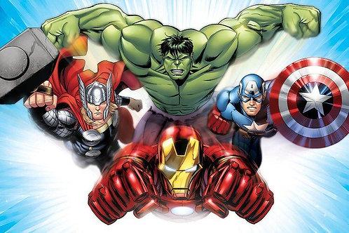 Comics (Avengers) - Iron Man, Thor, Hulk And Captain America Flying  by Marvel C