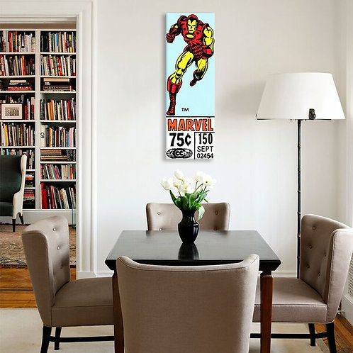 Comics (Retro) - Book Iron Man Price Tag Panoramic  by Marvel Comics Canvas