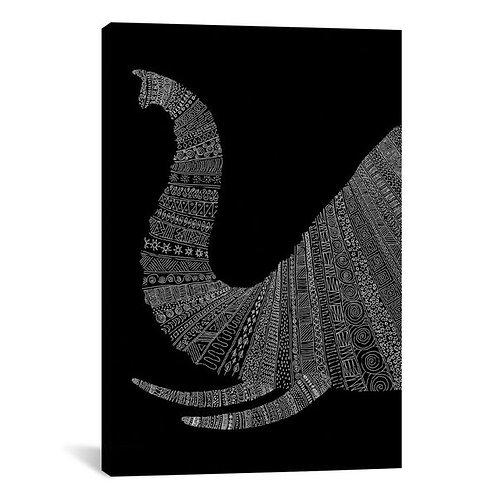 Elephant on Black by Florent Bodart Canvas Print